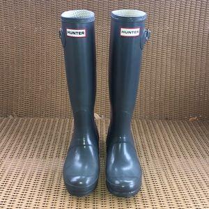 Tall Grey HUNTER Boots, Classic Glossy Rain Boots